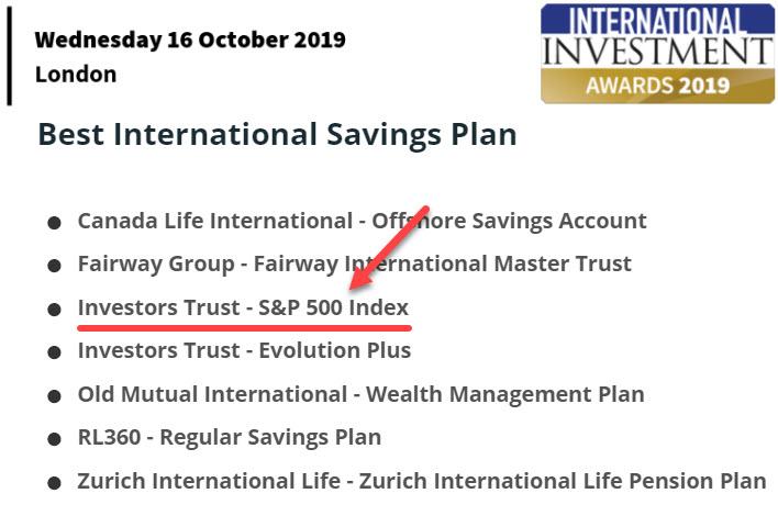 """ITA получила награду в номинации """"Лучший Международный Накопительный План"""" за семейство планов SP500"""