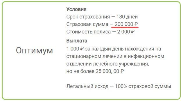 Страхование от коронавируса Арсенал, пакет Оптимум