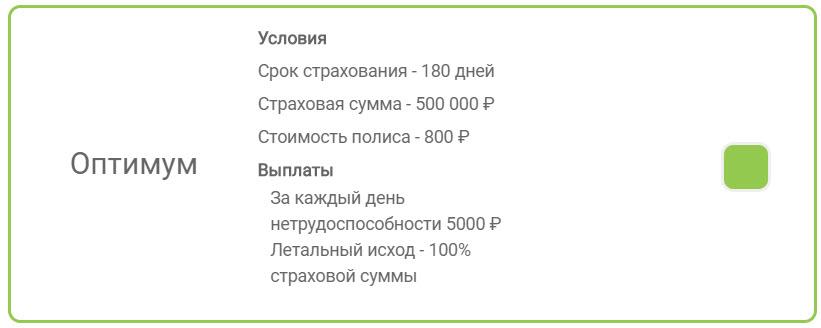 Страховка от коронавируса Восточный, тариф Оптимум