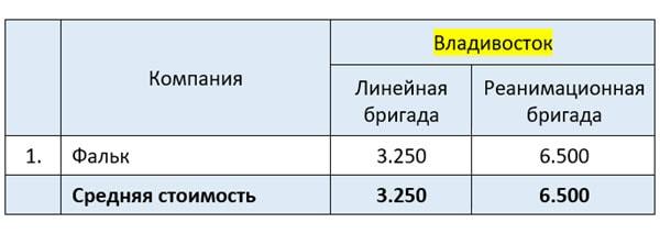 Сколько стоит частная скорая помощь во Владивостоке